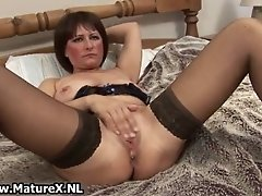 Dirty old mom in sexy lingerie fucking her favorite big