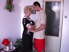 Blonde granny and her lover