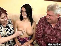 Sex crazed old parents fuck his girl