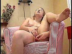 Chubby Redhead With Pink Dildo