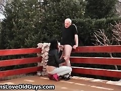 Grey Old Man Loves To Fuck Tight Teen Pussy Outdoor By