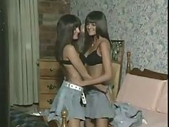 Hot vintage brunettes twins fucked