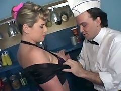 Slutty waitress dped in bar