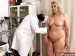 Blond haired chubby milf explored by cunt doctor