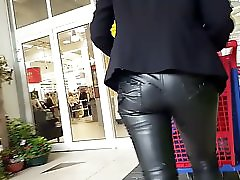 Cum on leather pant mature in public