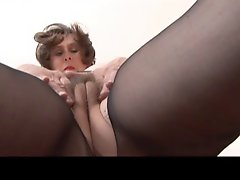 Milf Fingering In Black Pantyhose