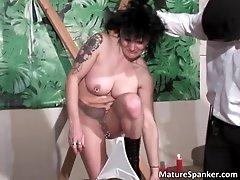 Hot sexy big boobed brunette milf slut gets tied and sp