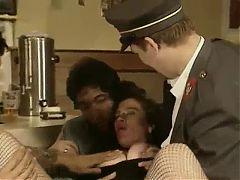 Classic Hot Brunette Cucumber Arse & Pussy in Public Bar
