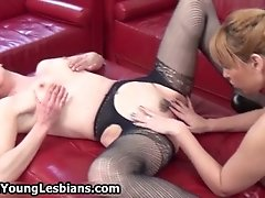 Blonde Chick With Perfect Big Tits Licking This Mature
