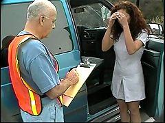 Latina Sucks And Mounts Older Road Worker's Cock In Parked Van