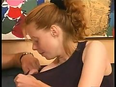 Hairy Redhead Teen satisfy her man in couch
