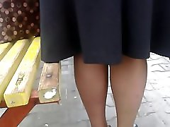 Quick upskirt at the bus stop