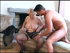 Plump Old Blonde Granny in Stockings Fucks