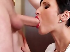Sexy Brunette Milf loves sucking cock