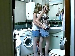 Sisters Have Fun In The Bathroom