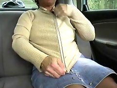 Redhead BBW Granny Outdoors in a Car by 2 Guys
