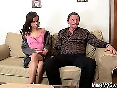 Slutty GF jumps on her BF daddy's cock