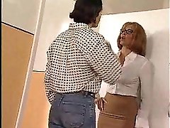 Reluctant Teacher Joins Foursome In Restroom
