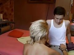 Mature teaches a virgin boy!!!