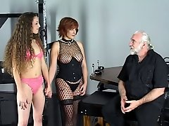Cute young brunettes in lingerie love to show off for their bdsm slave master