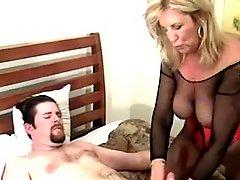 Hot Mature Cougar in Stockings Sucks and Fucks