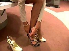 Stockings legs shoe store