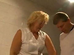 Mature in Stockings Fucks in the Bathroom
