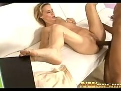 Hot blonde milf into interracial sex with huge black cock