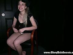Gloryhole Secrets sexy Rainy loves slurping on cock 1