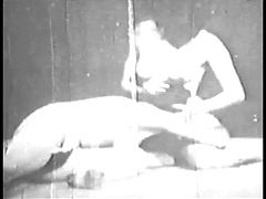 Two Horny Babes Fuck Lucky Dude And Lick Pussy In Grainy Old Clip