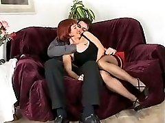 Redhead italian mature anal troia stocking culo