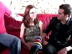 Sexy french teen with glasses banged