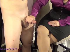 Mommy teases his cock with her favorite toy!