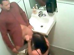 Real Horny MILF Giving Head Blowjob on Hidden Camera in Restaurant Bathroom