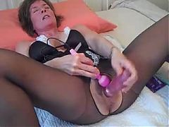 Hairy mature in lingerie multiple orgasm while toyed