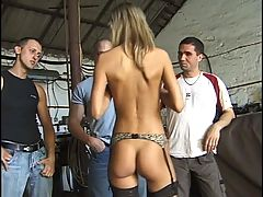 Hot group sex in the garage