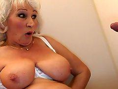 Old BBW Granny takes Cock on Toilette 2