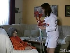 Busty Old Woman Gets Her Body Rubbed By An Horny Nurse