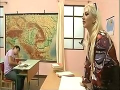 Blonde Teacher Gangbanged by her Students