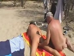 Wife has fun with strangers at the beach Home made