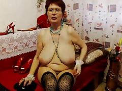 Granny in red bra