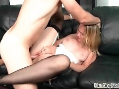 Sexy blonde milf goes crazy jerking and sucking on an h