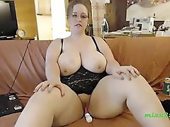 BBW works is big dildo tester for orgasm
