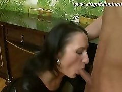 Mistress in leather gets it on with her lover making the ass