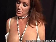 Busty MILF scolds her bf then milks his cock