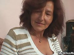 Girlfriends mother sucks and rides him