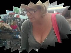 Blonde MILF Milk Juggs at WalMart!