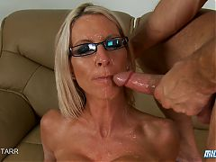 Blonde Milf Sits On A Big Cock And Gets Face Drenched In Cum