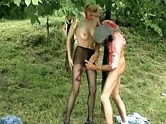 That thin horny dude tears her black tights before he p