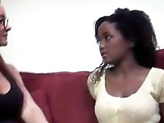 Sexy mature lesbian seduces cute young black women